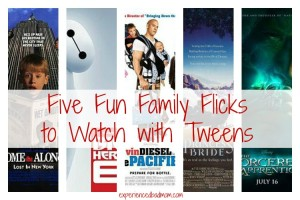 Five Fun Family Flicks to Watch with Tweens according to ExperiencedBadMom.com. You'll love watching these family-friendly PG movies with your school-age kids.