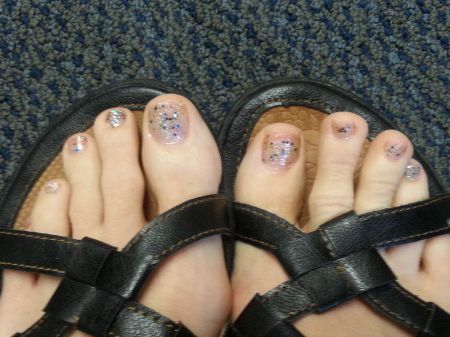 Feet need some pampering? Try a pedicure from an 8-year-old for sparkly pampering!