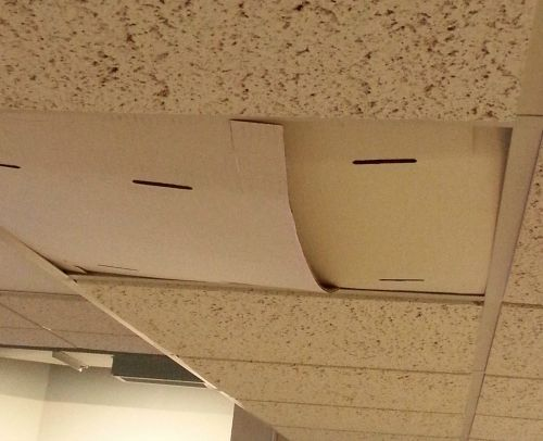 Cardboard ceiling tiles, just another glamorous part of my working mom workplace!