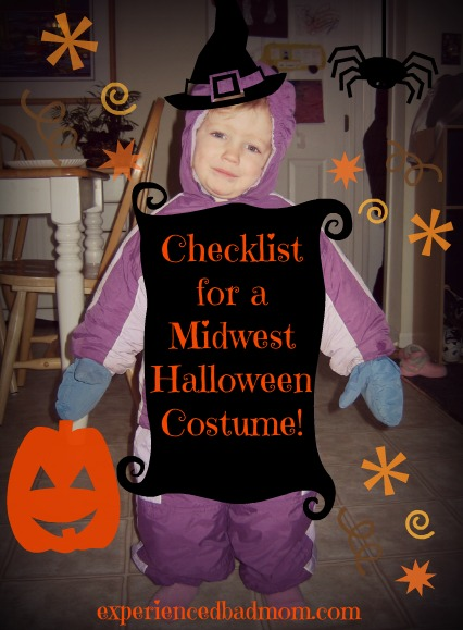 Here's a funny checklist for a Midwest Halloween Costume for kids!