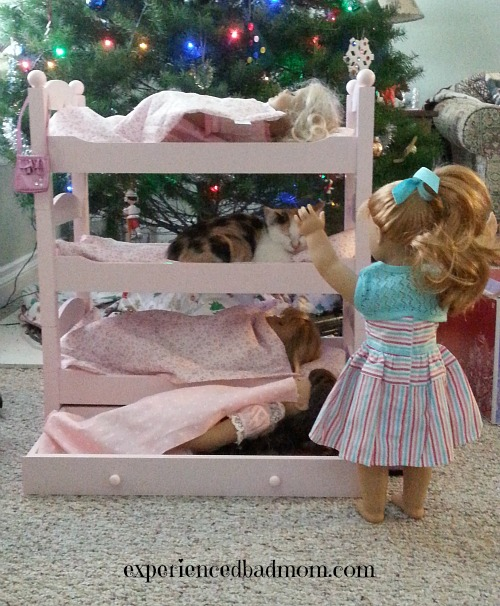 Christmas update: a kitten in the American Girl bed