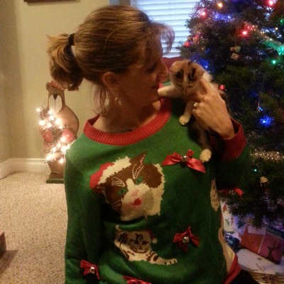 Here's a Crazy Cat Lady Ugly Christmas sweater!
