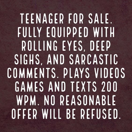 The one about raising a teenage son. No reasonable offer refused!