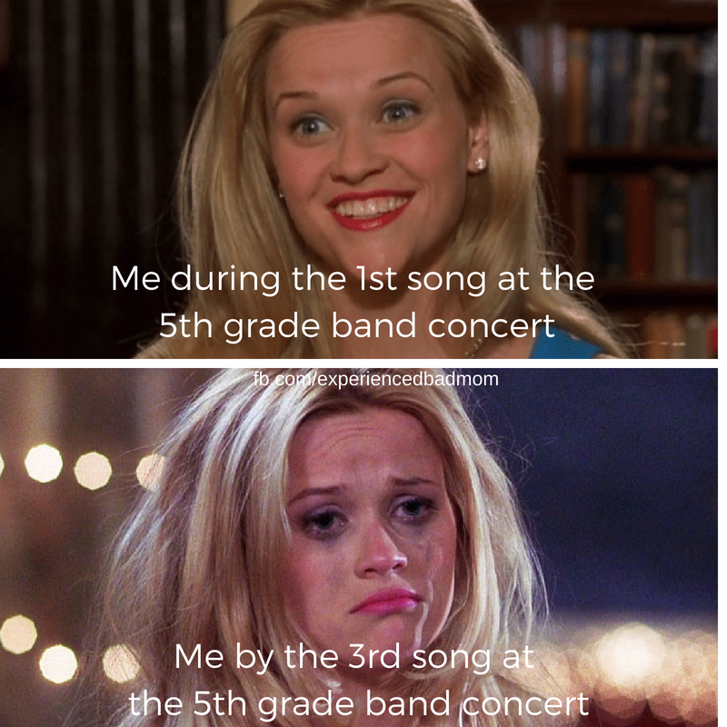 Accurate picture of me during those end of school year band concerts.
