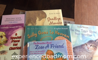Books help your family with pet loss grief - Experienced Bad Mom.